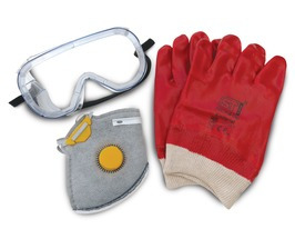 Safety Wear Pack - Vapour Resistant Mask (with filter), Chemical Resistant Gloves & Protective Goggles