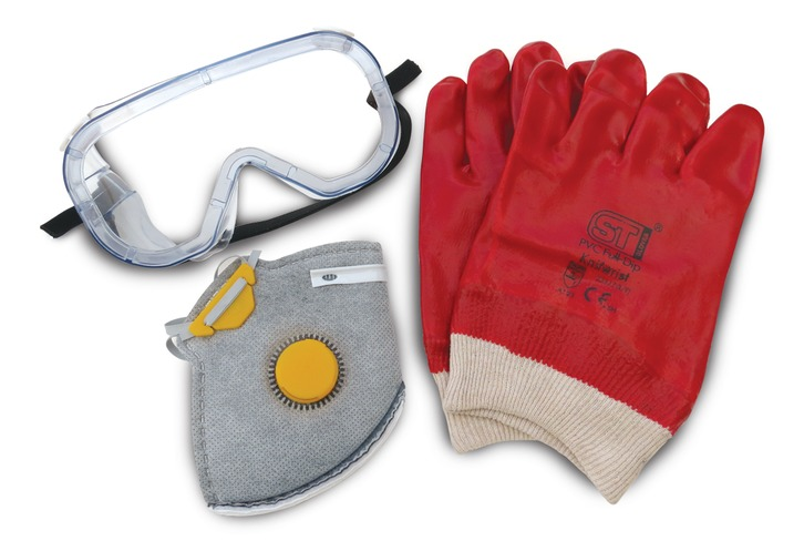 Safety Wear Pack of Mask, Gloves and Goggles