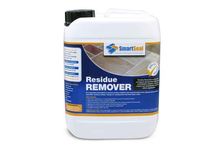 "Residue Remover for Natural Stone-  ONLY FOR Use prior to Sealing, after a ""sweep-in"" pointing compound. NOT FOR REMOVAL OF  VISIBLE FILM / STAIN left by the compound"