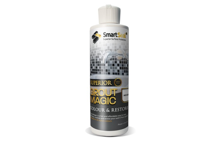 Grout Magic - (237ml & 5ml sample sizes) - MID GREY grout restorer & sealer to recolour grout.